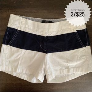 J. Crew White with Navy Blue Stripe Chino Shorts